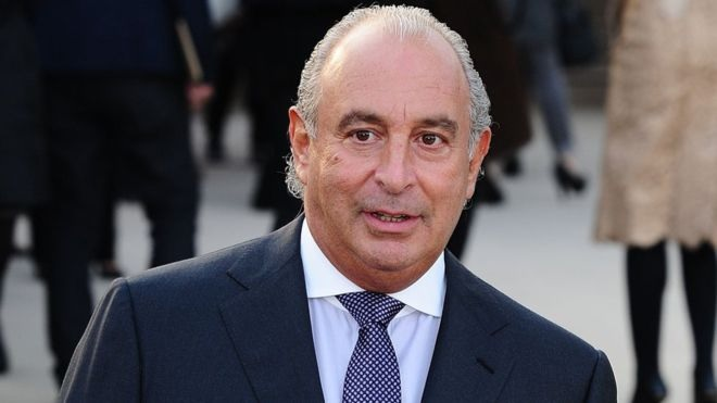 Phillip Green arriving at Parliament yesterday